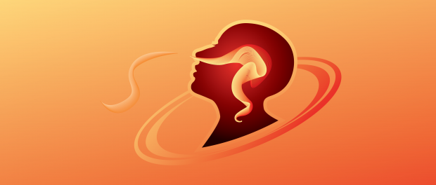 Illustration: head breathing that shows a scents concept