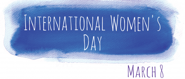 Artistic lettering of the words International Women's Day
