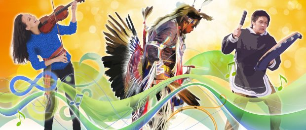 Illustration of FNMI people dancing and playing music