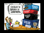 "Cartoon: Two people sitting at a table with another saying ""I'm ready to bargain in good faith"""