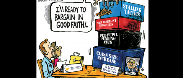 """Cartoon: Two people sitting at a table with another saying """"I'm ready to bargain in good faith"""""""
