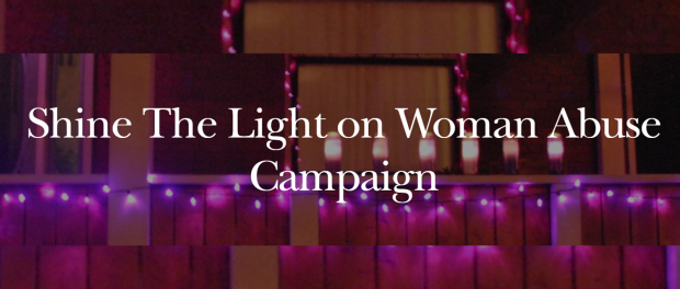 Banner: Shine the light on woman abuse campaign