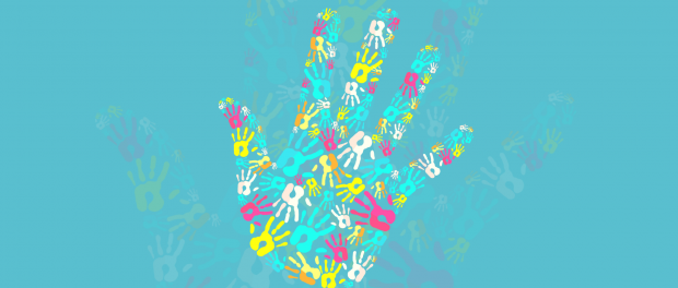 illustration: a hand filled with a pattern of many little hands
