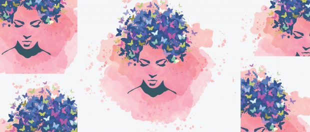 illustration: abstract woman' face with butterflies in her hair.