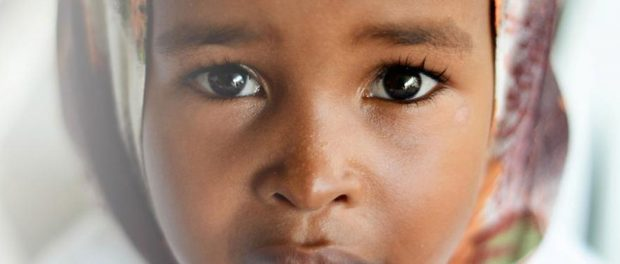 Close-up of a young girl of African decent