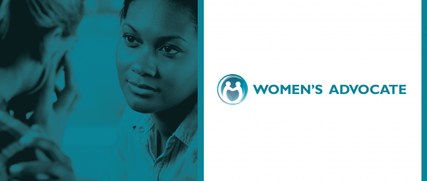 picture of woman listening to another woman empathically with the logo for Women's advocate