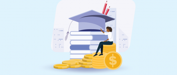 Illustration of a girl sitting on very large school books and coins.