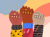 Image of three arms with fists of different skin tones in the air as a solidarity symbol