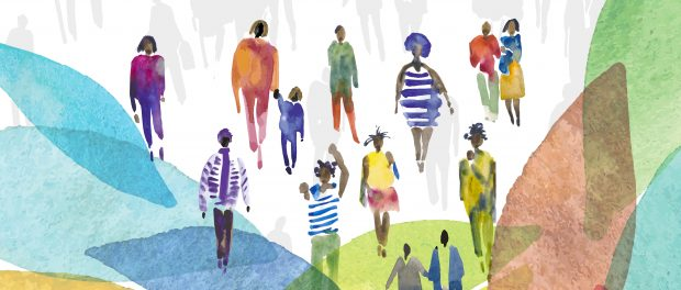 An illustration of a variety of Black people walking together