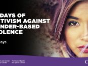 """A young woman looks into the camera. The words """"16 Days of Activism Against Gender-Based Violence"""""""