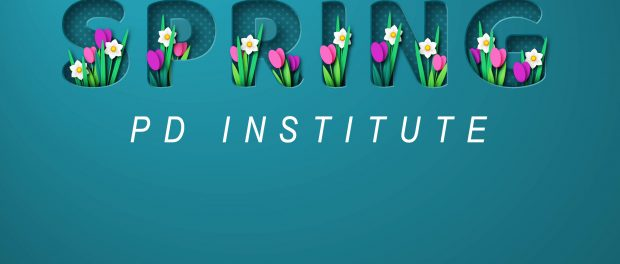 Image of colourful spring flowers blooming around the words spring institute