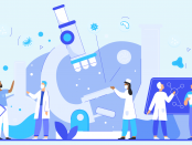 illustration epidemiology concept with scientists, microscope, flasks, microbes, viruses