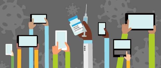 Illustration of arms stretched out upwards holding media devices and one holding a syringe and bottle of the COVID-19 vaccine