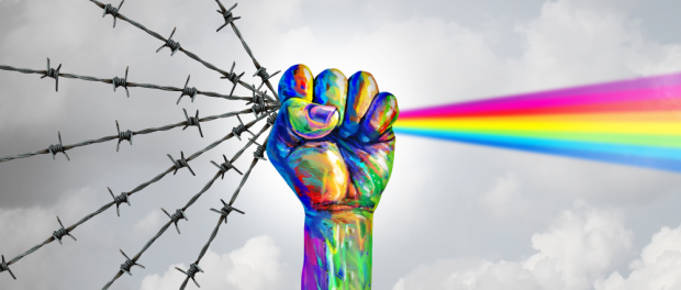 Social justice change and peaceful protest or protester unity as a fist of diversity as a nonviolent resistance symbol of hope and freedom from injustice for society in a 3D illustration style.