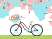 Illustration of a bicycle in a park with magnolia trees.