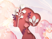 Illustration of a woman's shoulders and head silhouette filled in with flowers