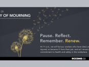 A decorative image promoting April 28 Day of mourning